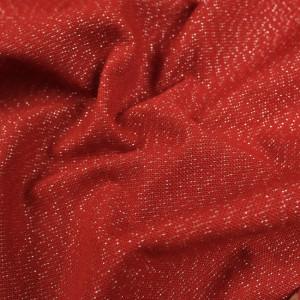 Tissu rouge pailleté argent - Décoration - 10 cm