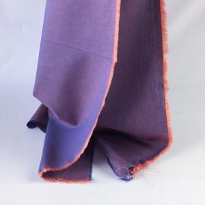 Tissu à chemise bleu/corail   - tombé - Mercerine