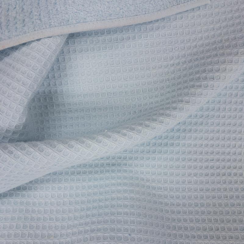 Tissu éponge Nid d'abeille / bouclettes bleu ciel - mercerine.com