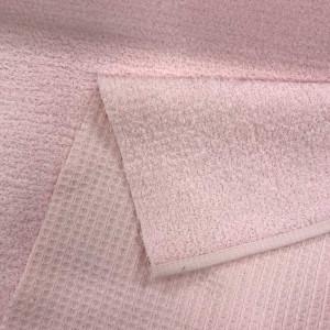 Tissu éponge Nid d'abeille / bouclette rose pâle - Mercerine.com