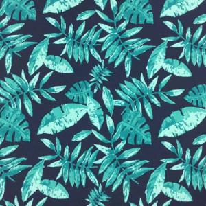 3d95f0297d Tissu maillot de bain Bleu Marine Feuillage Vert - par 10cm
