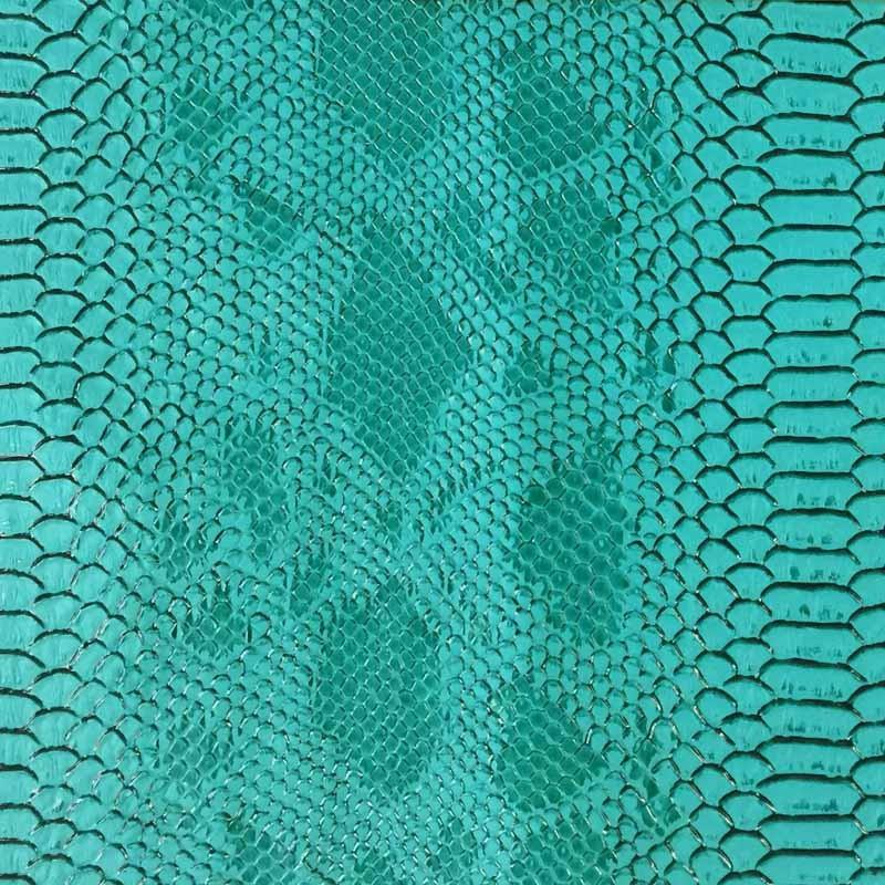 Simili cuir animal reptile vert turquoise au mètre - rouleau de tissu - Mercerine.com