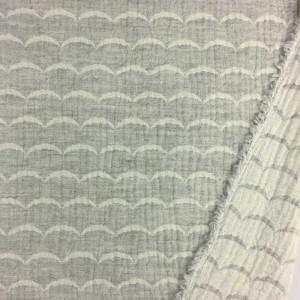 Double Gaze réversible Kokka White Waves gris - Mercerine.com