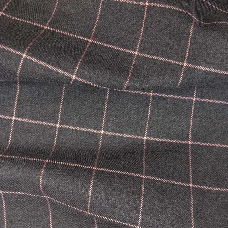 Vente Tissu Écossais en ligne - Tissu Gris à Carreaux Rose - Mercerine.com