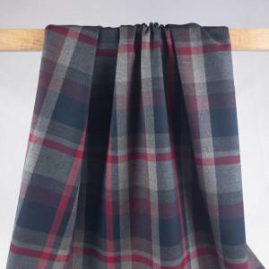 Tissu mètre imprimé écossais Noir Gris Rouge Blanc - Mercerine.com