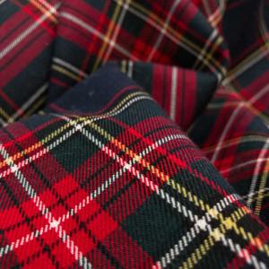 Tissu habillement imprimé écossais marine - Mercerine.com - zoom