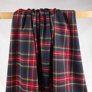 Tissu imprimé écossais marine en ligne - Mercerine.com - tombé du tissu