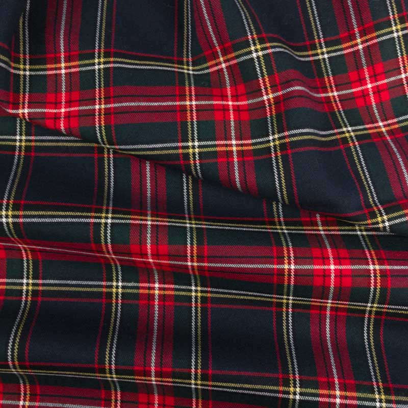 Vente de tissu habillement imprimé écossais marine - Mercerine.com