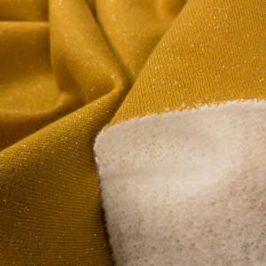 Tissu au mètre Sweat pailleté coton tissu doux jaune moutarde safran - Mercerine.com - zoom