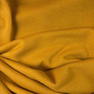 Tissu au mètre Sweat pailleté coton tissu doux jaune moutarde safran - Mercerine.com