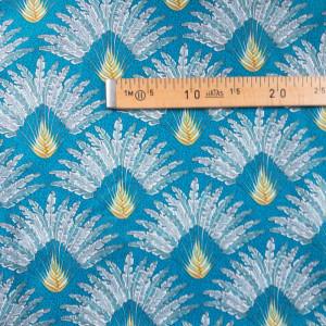 Tissu imprimé - motif paon bleu - Mercerine tissus et mercerie en ligne