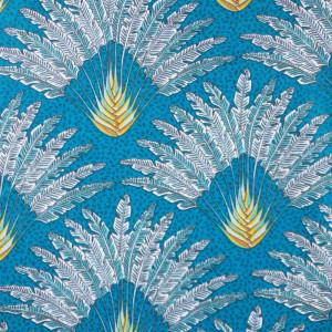 Tissu 100% coton imprimé - motif paon bleu - Mercerine tissus et mercerie en ligne