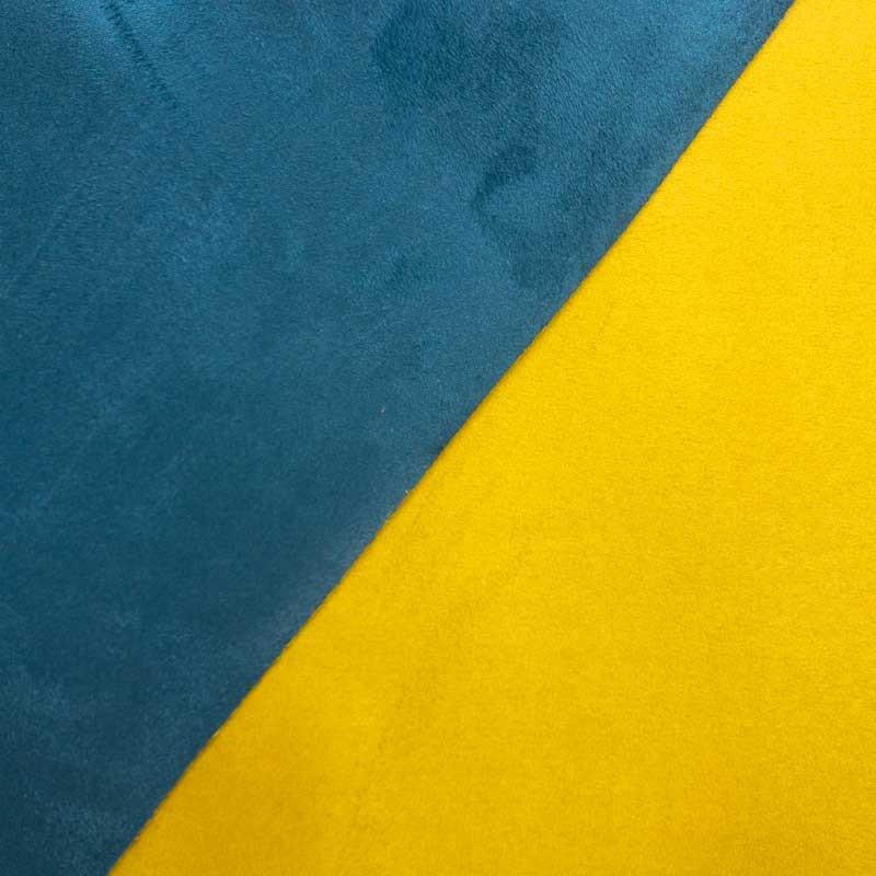 Su dine bleu paon jaune canari volteface par 10cm - Tissu ameublement au metre ...