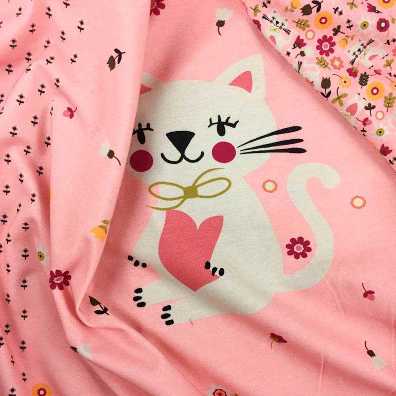 En coton jersey éclairs Rose Noir Jersey Tissu Enfants tissu 50 cm