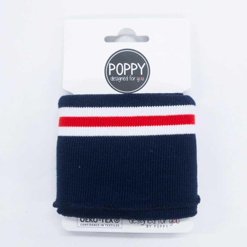 Bord côte bleu rouge Poppy Oekotex