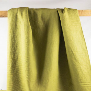 Tissu lin habillement - Lin vert olive - Mercerine.com