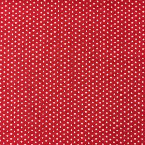 Tissu rouge étoiles blanches - Mercerine.com