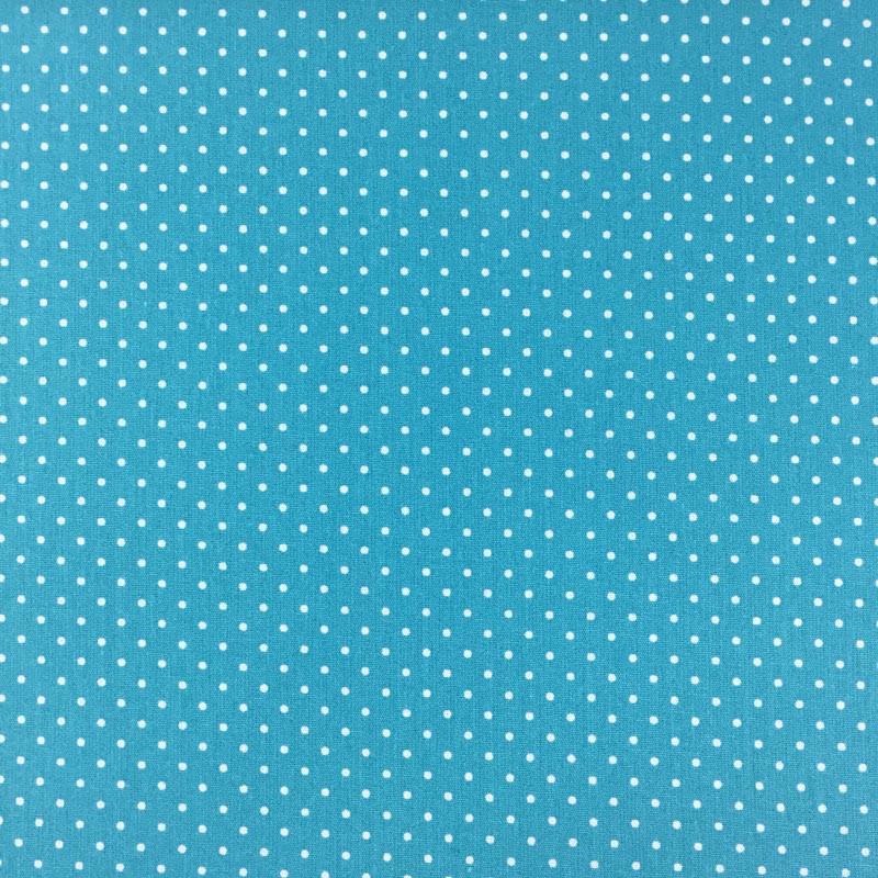 Tissu turquoise pois blanc - Mercerine.com