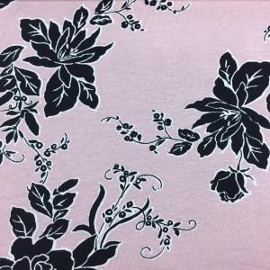 Jersey rose imprimée fleur - Mercerine.com