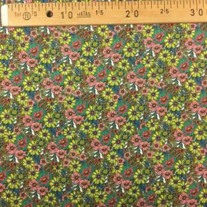 Viscose verte kaki imprimé petites fleurs - Mercerine