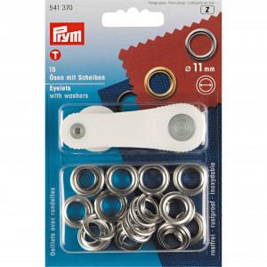 Oeillets gris argent 11mm avec rondelles - 11mm et outils de pose