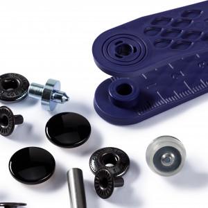 Boutons pression, noir - anorak  - 15mm et outils de pose {attributes}