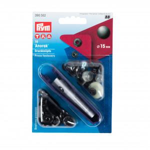 Boutons pression, noir- anorak - 15mm et outils de pose Prym