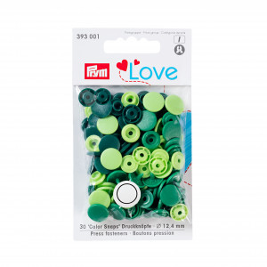 Lot 30 boutons pression Prym vert