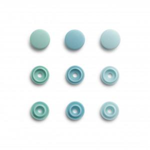 Lot 36 boutons pressions color snaps mini Prym vert d'eau