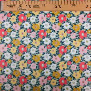 Tissu enduit menthe fleuri - Mercerine