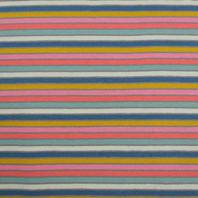 Jersey coton rayures multicolore x10cm