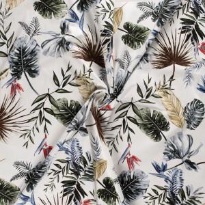 Jersey Coton satiné fleuri écru x10cm