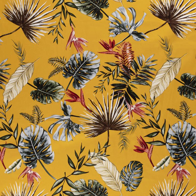 Jersey Coton satiné fleuri jaune x10cm