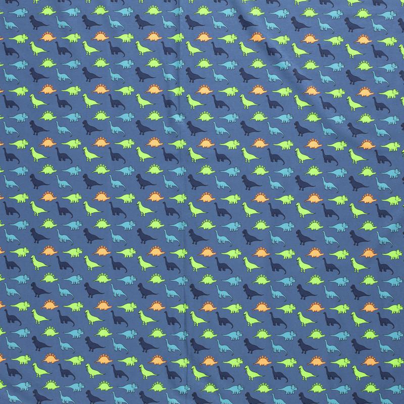 Jersey Coton bleu dino fluo x10cm