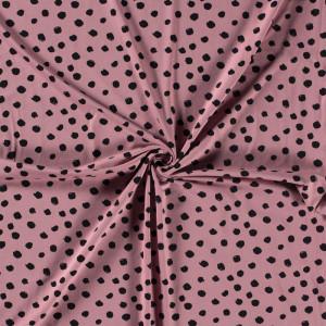 Jersey Coton rpse confettis noirs x10cm