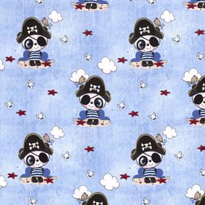 Jersey bleu ciel panda pirate x10cm