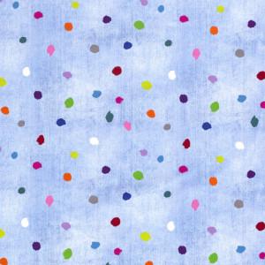Jersey bleu ciel imprimé confettis x10cm