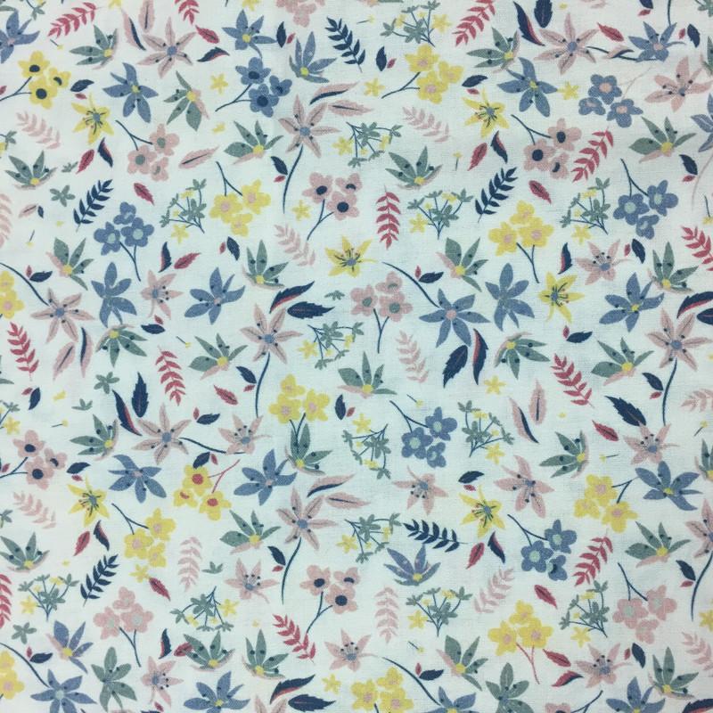 Popeline De Coton  Fine fleurs bleu rouge x10cm