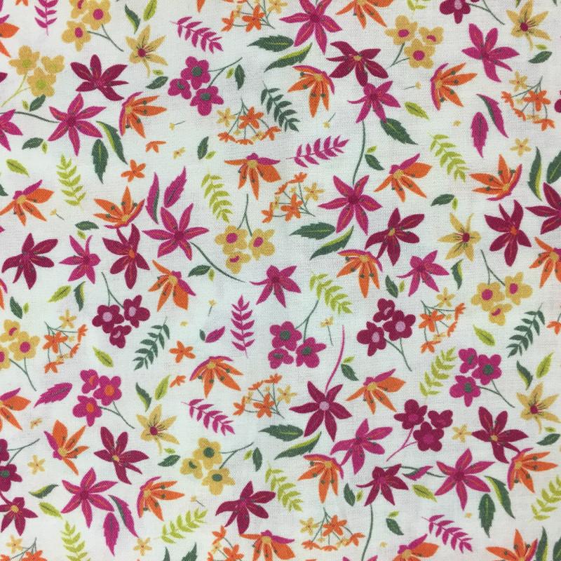 Popeline De Coton  Fine fleurs vert x10cm