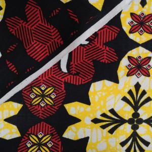 Tissu wax bordeaux jaune - Wax - V.1641440.FE.X