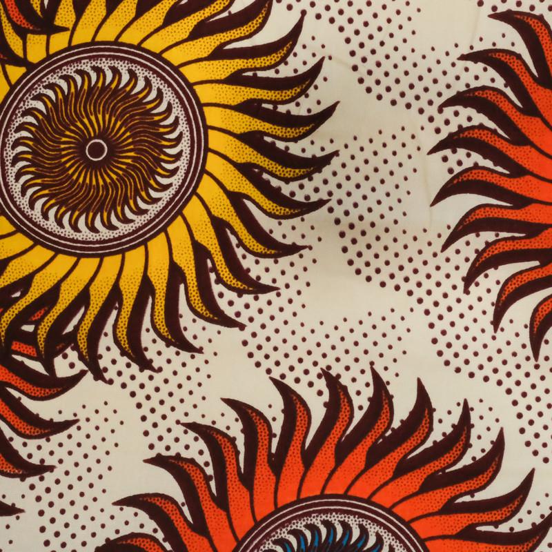 Tissu wax africain rouge orange - Wax - 1741516.FE.X