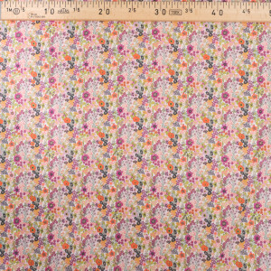 Tissu popeline de coton - Imprime fleuri - Rose violet orange