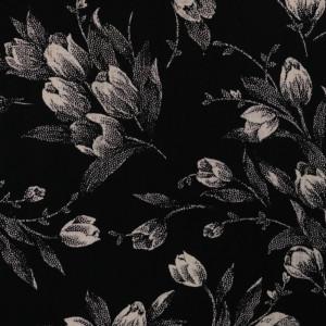 Tissu Viscose Noir Imprimé Fleuri - 10cm - Mercerine