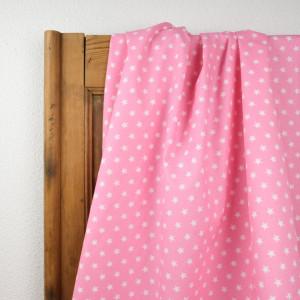 Tissu etoile rose   - Popeline de coton - Mercerine