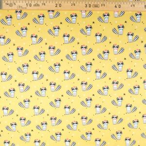 Tissu coton imprimé oekotex  raccoon ocre- Mercerine