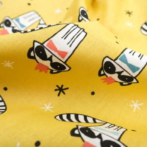 Tissu coton imprimé oekotex  raccoon ocre rouge- Mercerine
