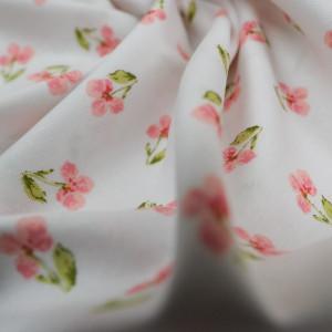 Coton Bio Oekotex blanc fleuri rose