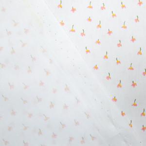 Coton Bio Oekotex blanc fleuri rose tout petit motif