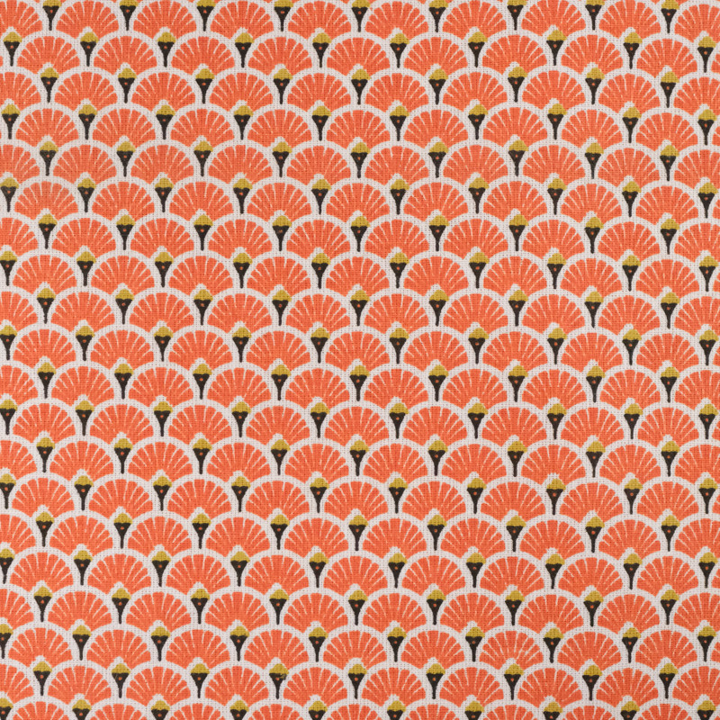 Coton eventails orange -Tissu Coton imprimé