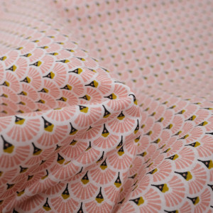 Coton eventails rose -Tissu Coton imprimé